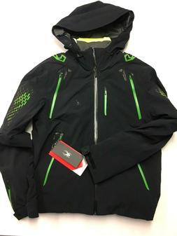 $1000 Spyder Pinnacle Insulated Ski Jacket Size M Black Gree