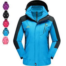 3-in-1 Women Waterproof Ski Snowboard Jacket Winter Warm Cas