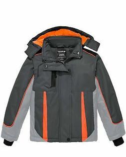 Wantdo Boy's Waterproof Ski Jacket Hooded Windbreaker Fleece