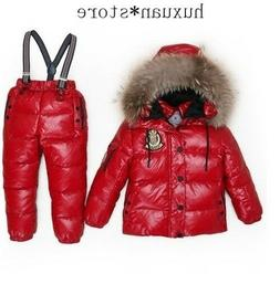 Children  Winter Fur Hooded Down Ski Snow Suit  Jacket+overa