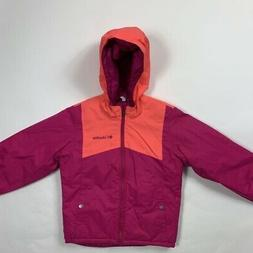 Columbia Girls Double Flake Ski Jacket Pink Hood Zip Up Wate
