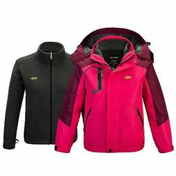 Wantdo Girl's 3 in 1 Waterproof Ski Jacket Windproof Warm Fl