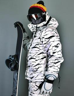 K style  White Camo Winter Waterproof Ski-Snowboard Jacket S