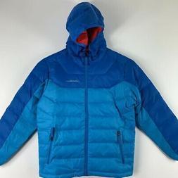 Eddie Bauer Kids Hooded Down Puffer Ski Jacket Blue Colorblo