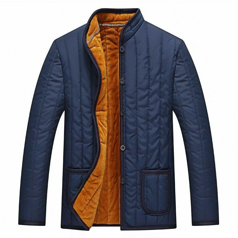 4XL Men Quilted Cotton Padded Jacket Single Breasted Fur Zsell