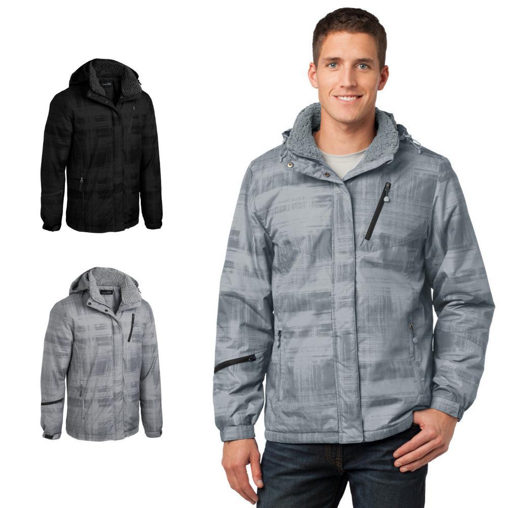 brushstroke print insulated jacket ski snow slope
