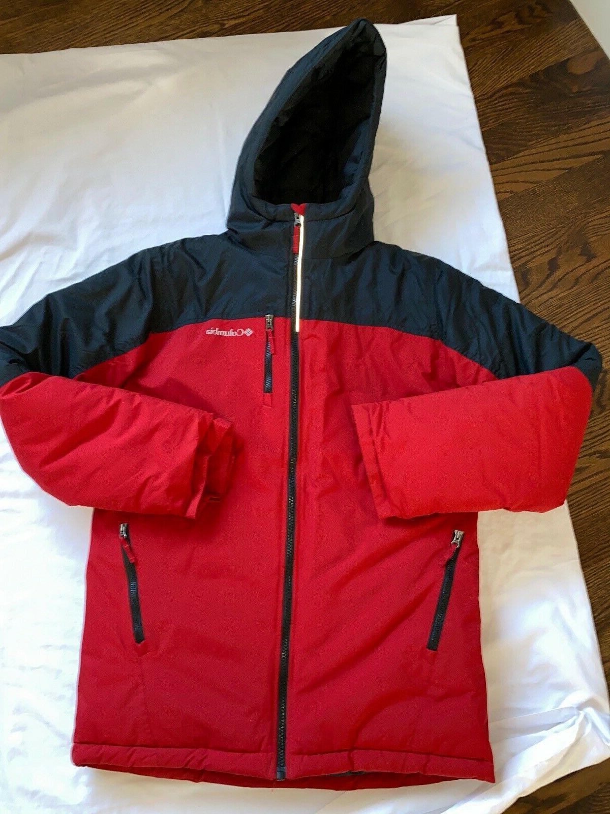 hooded winter jacket ski coat black red