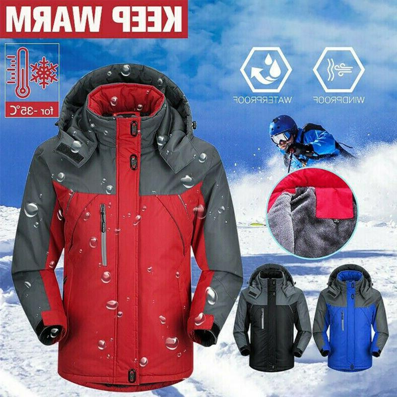 Mens Winter Thick Warm Jacket Ski Snow Windproof Hooded Coat