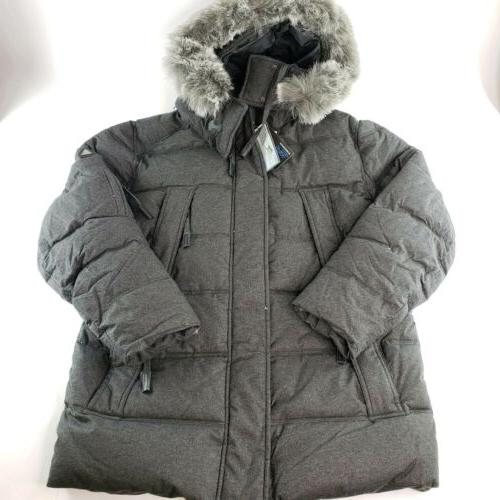 mens heavy down parka jacket faux fur