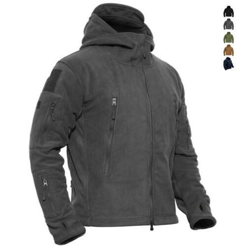 mens outdoor winter fleece tactical army jacket