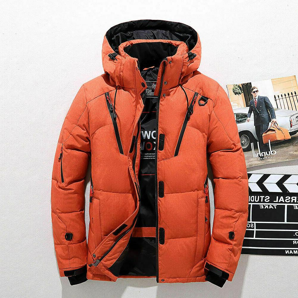 Mens Winter Down Jacket Snow Thick Hooded Coat Parka