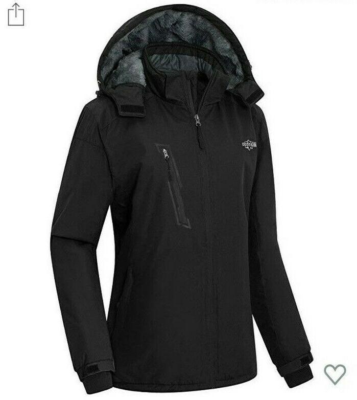 NWT Women's Waterproof Fleece Jacket Windproof Parka Coat Black