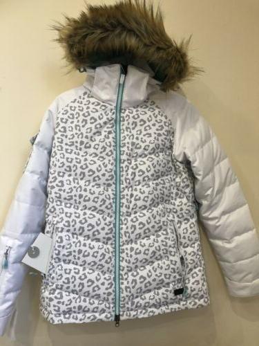 ski coat ladies leopard print grey