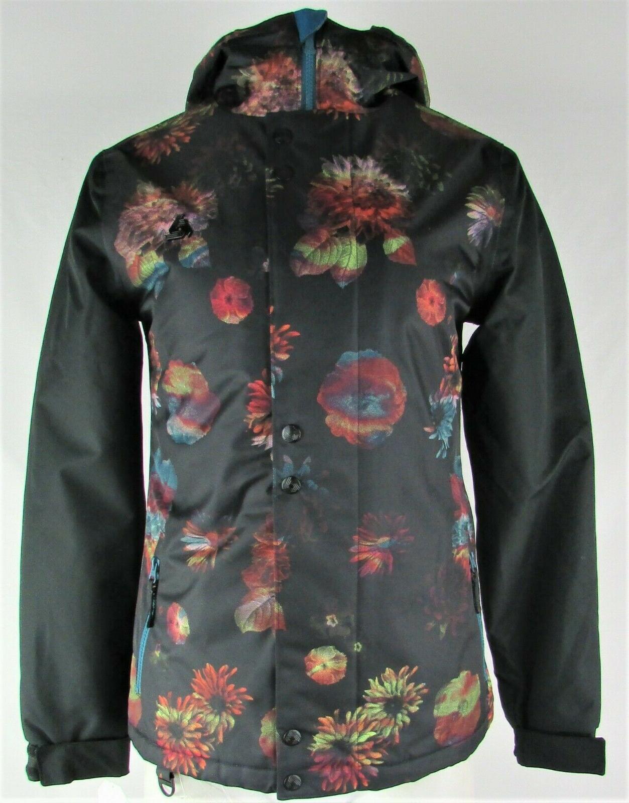 women s black floral ski jacket