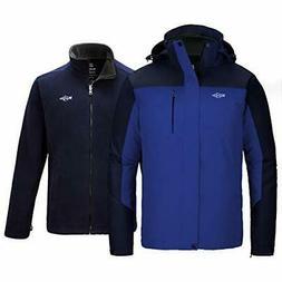 Wantdo Men's 3 in 1 Waterproof Ski Jacket Winter Interchange