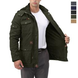 Men's Thermal Tactical Jacket Fleece Lined Warm Parka Outdoo