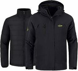 Wantdo Men's Waterproof 3 in 1 Ski Jacket, Black, Medium