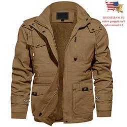 Men's Winter Cargo Work Jacket Outdoor Windproof Fleece Line