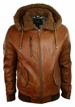 Mens Real Leather Hood Fur Jacket Bomber Aviator Tan Brown R