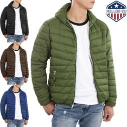 Mens Puffer Padding Jacket Light Down Ski Quilted Padded Out