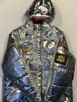 Champion NASA Metallic Puffer Space Quilted Jacket Silver XX