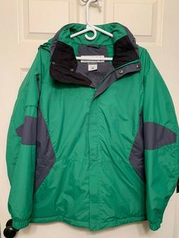 New Columbia Ski Snow Winter Jacket Size 1X Green Gray Remov