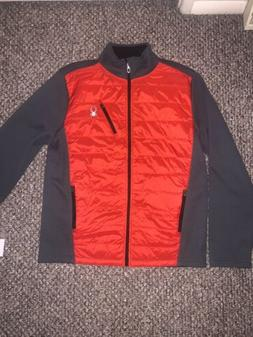 Spyder NWT Hybrid Men's Jacket Size L Red/gray HydroWEB Full