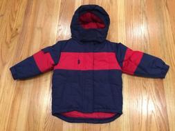 NWT Kids Talbots Ski Rain Jacket Coat Red Navy Toddler 3T