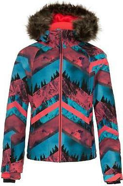 O'NEILL Girls Curve Ski Jacket Size 8 Pink/ White/Blue 2019
