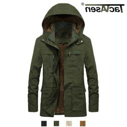 TACVASEN Mens Overcoats Military Cargo Jackets Hooded Winter