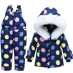 Thick Warm Toddler Girls Skiing Suits 2pcs Hooded Down Jacke