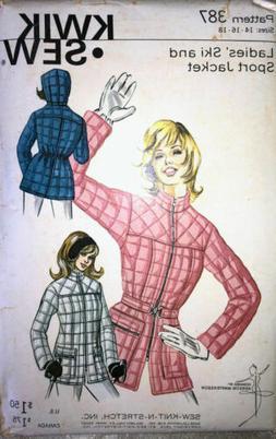 Vtg Kwik Sew Misses Quilted Ski Jacket Pattern 387 UNCUT Siz