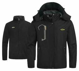 Wantdo Men's Fleece 3 in 1 Ski Jacket Waterproof Outdoor Rai