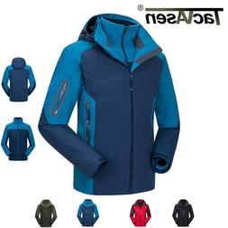 TACVASEN Waterproof Mens Fleece Jacket Hiking Ski Jacket Hoo