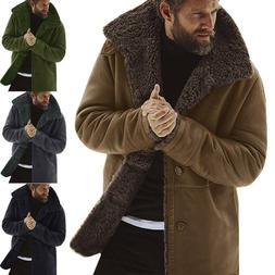 Winter Mens Thicken Lapel Warm Trench Coat Fleece Fluffy Cas