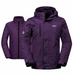 Wantdo Women's 3-in-1 Waterproof Ski Jacket Interchange Wind