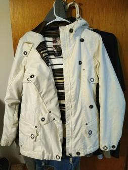 Burton women's Dryride Ski jacket coat white Zip Vents pocke