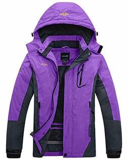 Wantdo Women's Purple Mountain Waterproof Ski Rain Windproof