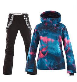 Women's Ski Jackets and Pants Set Windproof Waterproof Snows