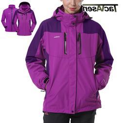 TACVASEN Winter Womens 3in1 Jackets Waterproof Ski Snow Flee