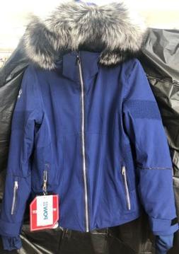 Spyder Women's Diabla Real Fox Fur Winter Jacket Blue Size