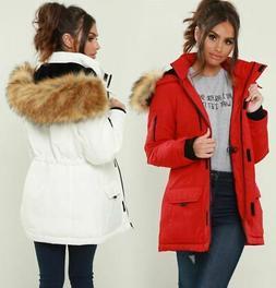 Womens Puffer Jacket Padded Parka Faux Fur Ski Coat Size 12